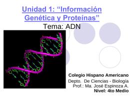"""Unidad 1: """"Información Genética y Proteínas"""""""
