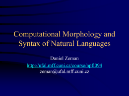 Morphological and Syntactic Analysis