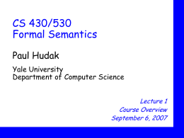 CS430 Formal Semantics