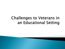 Challenges For Veterans In An Educational Setting