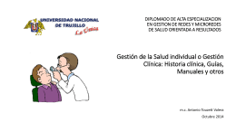 Gestión de la Salud individual o Gestión Clínica: