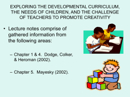 CHILDREN, TEACHERS AND CREATIVE ACTIVITIES