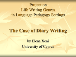 Life Writing Genres in Language Pedagogy Settings