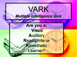 VARK Multiple Intelligence Quiz