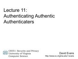 CS696 Talk - University of Virginia
