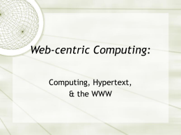 Web-centric Computing
