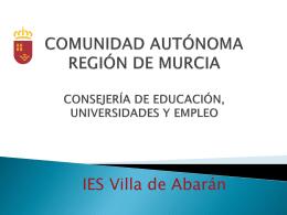 COMUNIDAD AUTÓNOMA REGIÓN DE MURCIA CONSEJERÍA DE