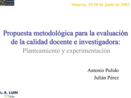 Propuesta metodológica para la evaluación de la