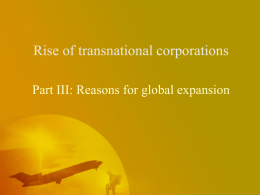 Rise of transnational corporations