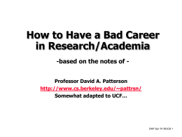 How to Have a Bad Career in Research/ Academia
