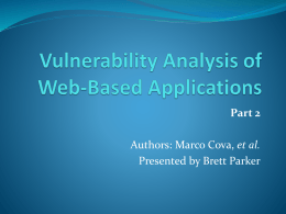 Vulnerability Analysis of Web