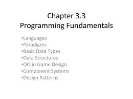 Chapter 3.4 Programming Fundamentals