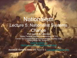 Gov 1750 Nationalism in International Relations