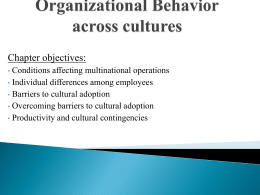 Chapter 16 Organizational Behavior across cultures