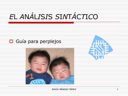 EL ANÁLISIS SINTÁCTICO