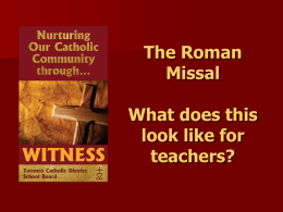 The New Roman Missal--resource for teachers