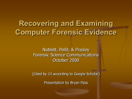 Recovering and Examining Computer Forensic