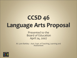 CCSD 46 Language Arts Proposal