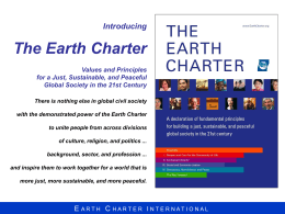 The Earth Charter: A Holistic Vision for a Just,