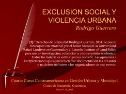 EXCLUSION SOCIAL Y VIOLENCIA URBANA