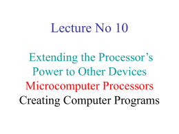 Lecture No 10 Microcomputer Processors Ports