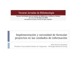 Implementación y necesidad de formular proyectos