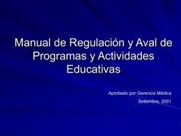Manual de Regulación y Aval de Programas y