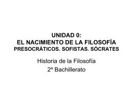 UNIDAD 0: EL NACIMIENTO DE LA FILOSOFÍA