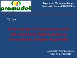Taller Promoviendo la transparencia de la