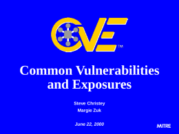 ISSA CVE Talk - Basic Slides
