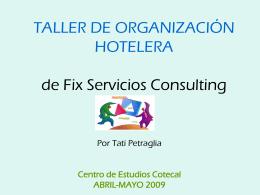 TALLER DE ORGANIZACIÓN HOTELERA