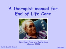 At the End of Life - Dr. Sophie Guellati