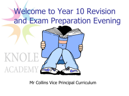 Welcome to Year 11 Revision and Exam Preparation