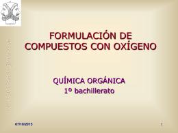 FORMULACIÓN DE COMPUESTOS CON OXÍGENO