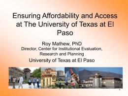 UTEP ACCESS - TAIR-Texas Association for