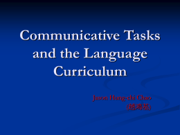 Communicative Tasks and the Language Curriculum