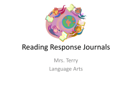 Reading Response Journals - Mrs. Terry