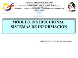 DISEÑO INSTRUCCIONAL Sistemas de Información