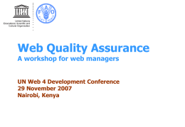Web Quality Assurance A workshop for web managers