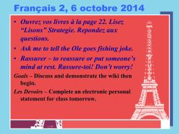 Français 2, 8 octobre 2012