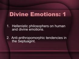 Divine Emotions: 1 - University of St. Thomas