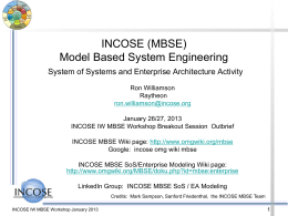 INCOSE MBSE System of Systems (SoS) Activity