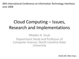 Cloud Computing – Issues, Research and