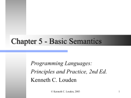 Chapter 5 - Basic Semantics