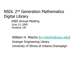 OAI & NSDL Research at Grainger: Briefing to UIUC