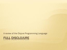 Full Disclojure