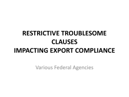 TROUBLESOME CLAUSES IMPACTING EXPORT COMPLIANCE