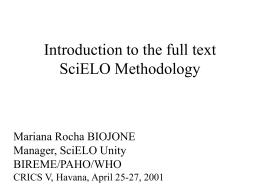 Introducción a la Metodología SciELO para texto