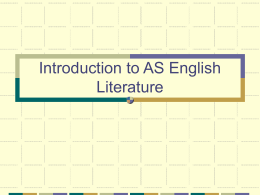 Introduction to AS English Literature