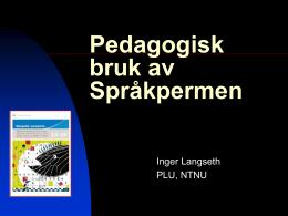 Pedagogisk bruk av Språkpermen